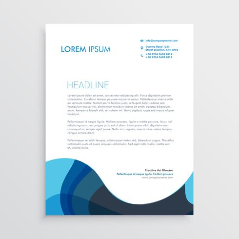 abstract blue wavy letterhead design