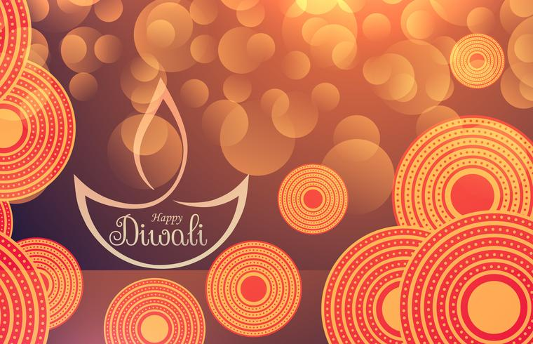 amazing diwali festival background with bokeh effect and decorat