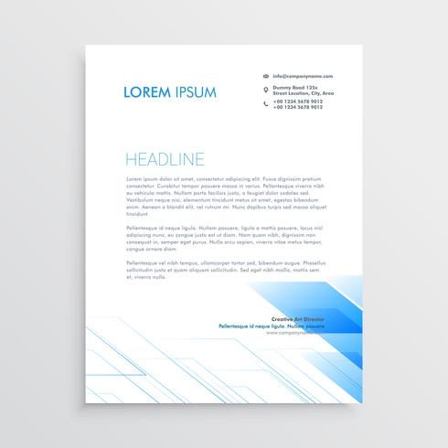 clean minimal letterhead design with blue shape