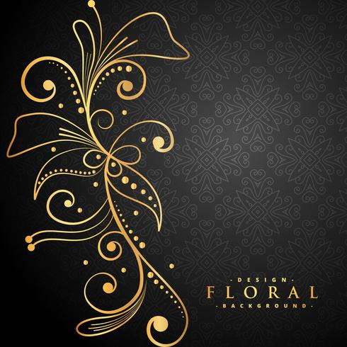 stylish golden floral on black background