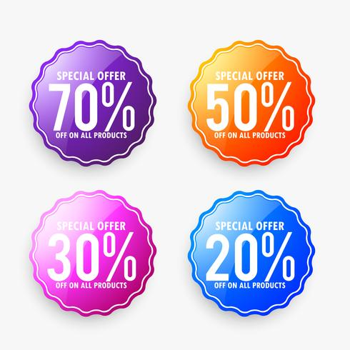 set of discount sale labels in different colors