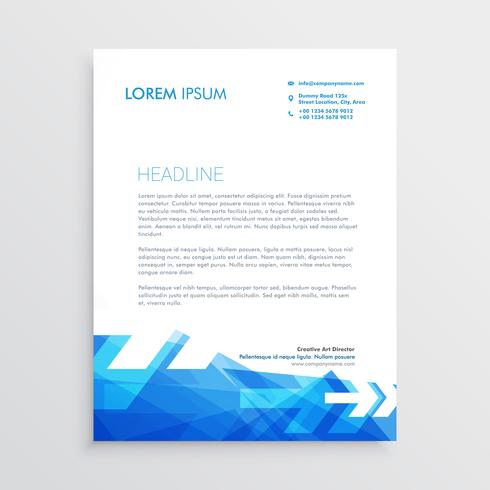 abstract letterhead template in blue arrow style