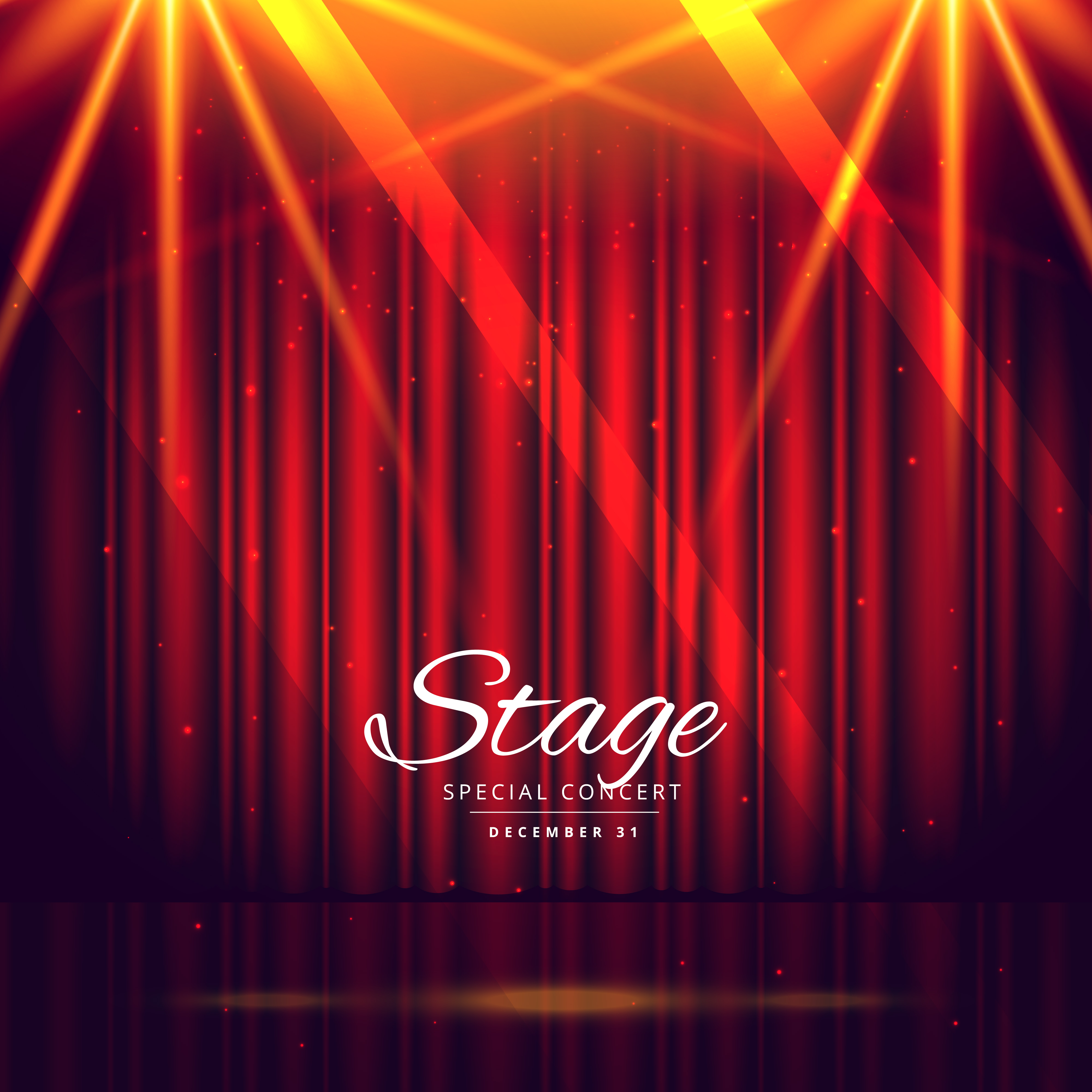 Theater Lights Background: Red Stage Background With Closed Curtains