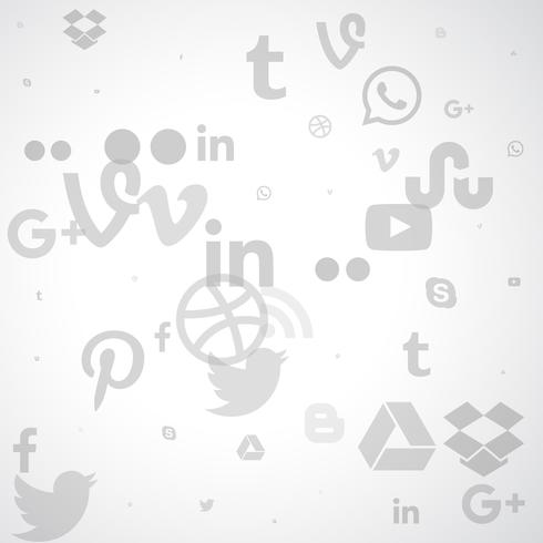 clean background of social media icons in gray color