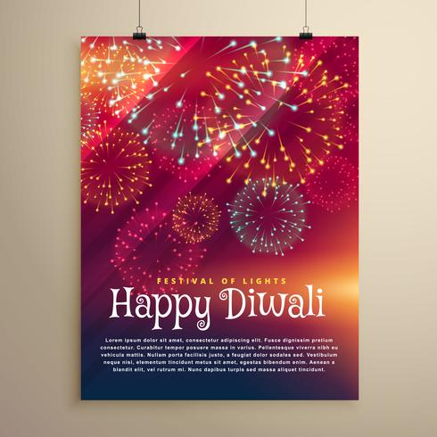 fireworks background flyer template for diwali festival