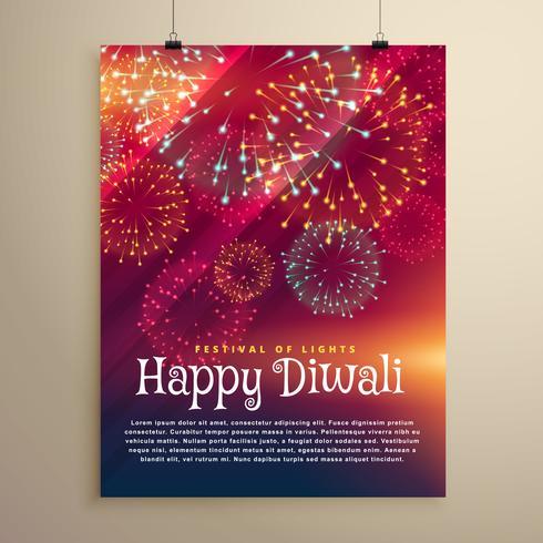 modelo de panfleto de fundo de fogos de artifício para o festival de diwali