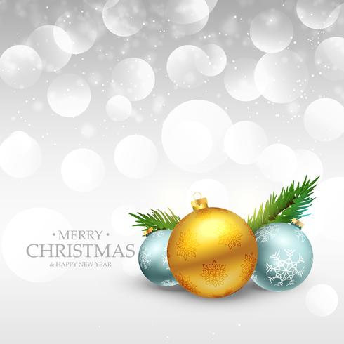 three christmas ball on silver bokeh background