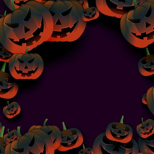 breepy halloween pumpkin frame on dark background