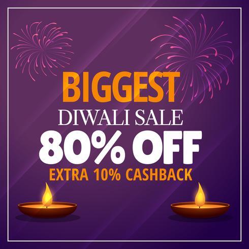 plus grande offre de vente de diwali avec diya et feux d'artifice