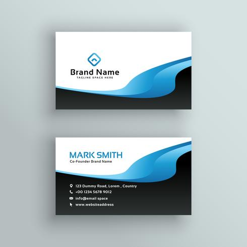Professional blue wave business card template