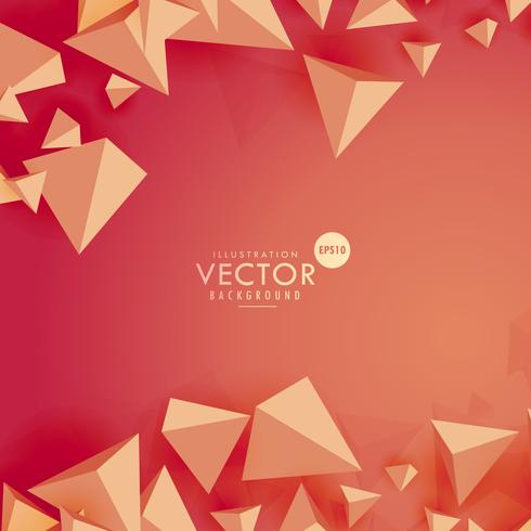 abstract 3d triangle background on red background