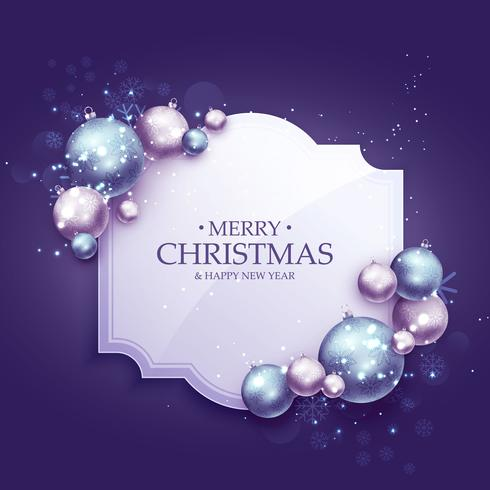 beautiful purple christmas greeting background with realistic xm