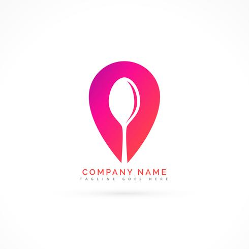 spoon with map pointer logo design concept
