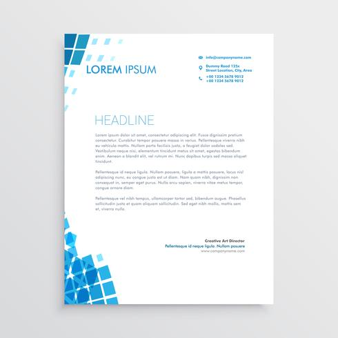 blue mosaic abstract letterhead design