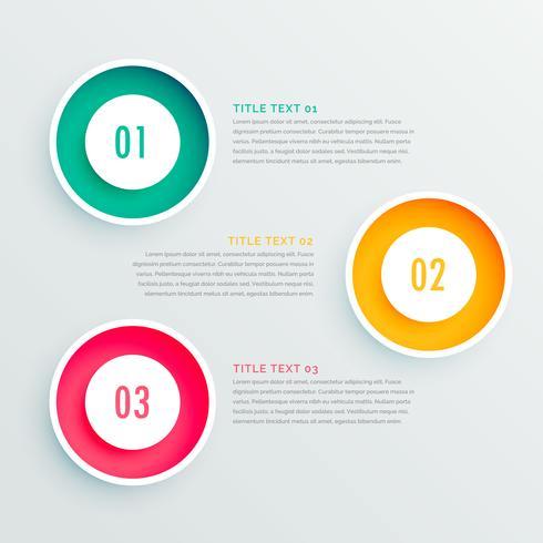 conception infographique élégante en trois étapes
