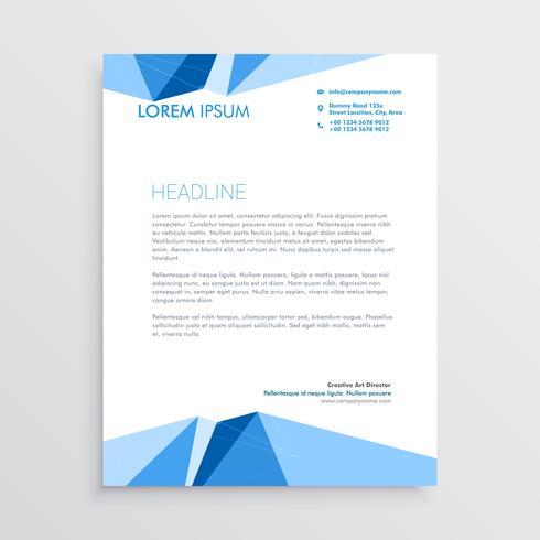 blue geometric letterhead template design