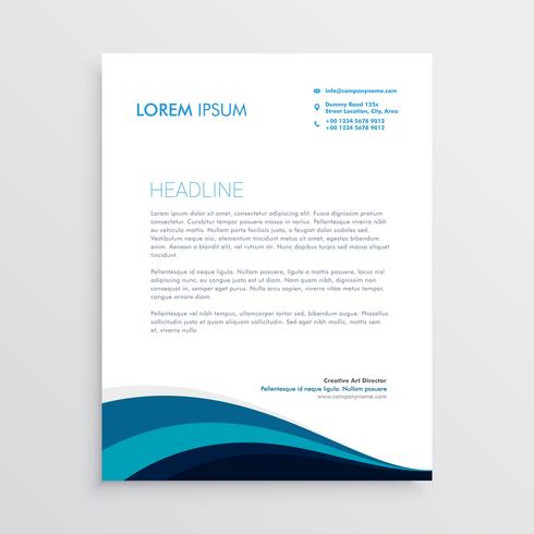 stylish letterhead design with blue wavy shapes