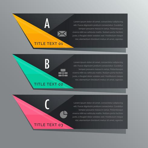 dark theme three steps infographic banners with business icons