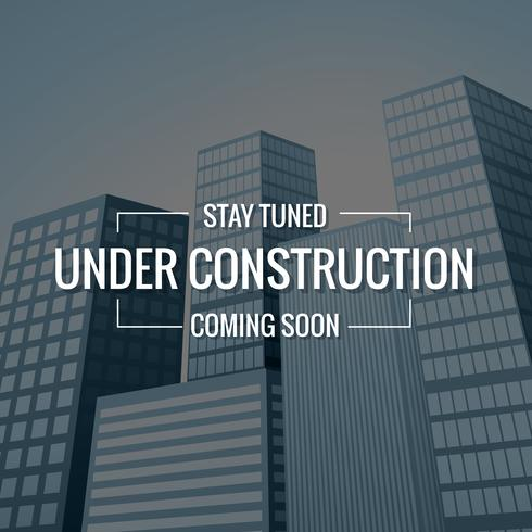 underconstruction text with buildings at background