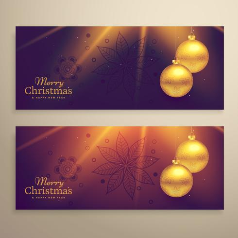 conjunto de dos hermosas tarjetas de Navidad festival banners