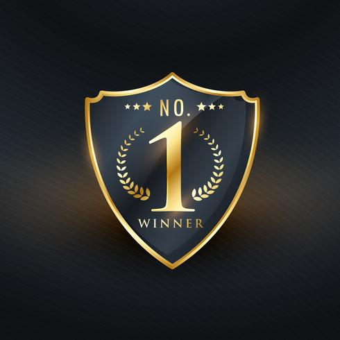 no. 1 winner badge label golden vector design