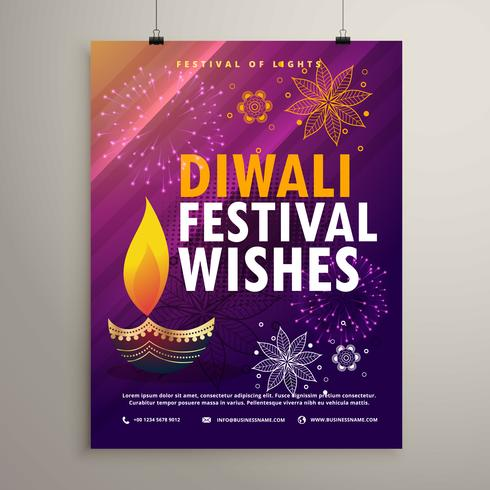 amazing diwali flyer template with diya and floral decoration