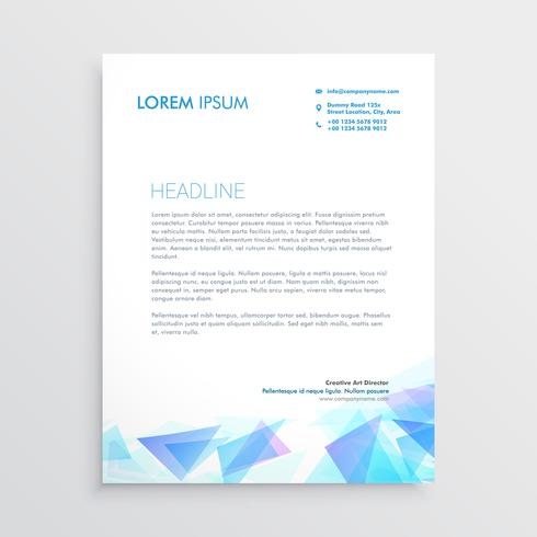 letterhead design with abstract blue triangle shapes
