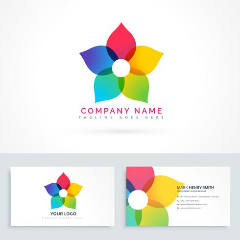 colorful flower logo design with business card