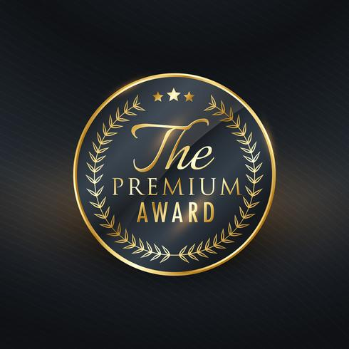 premium award golden label vector design