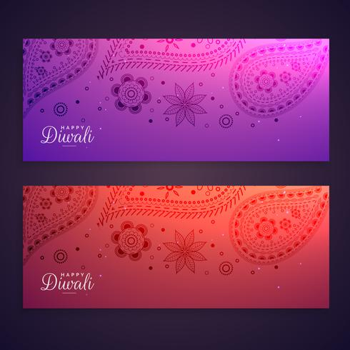set of colorful happy diwali banners