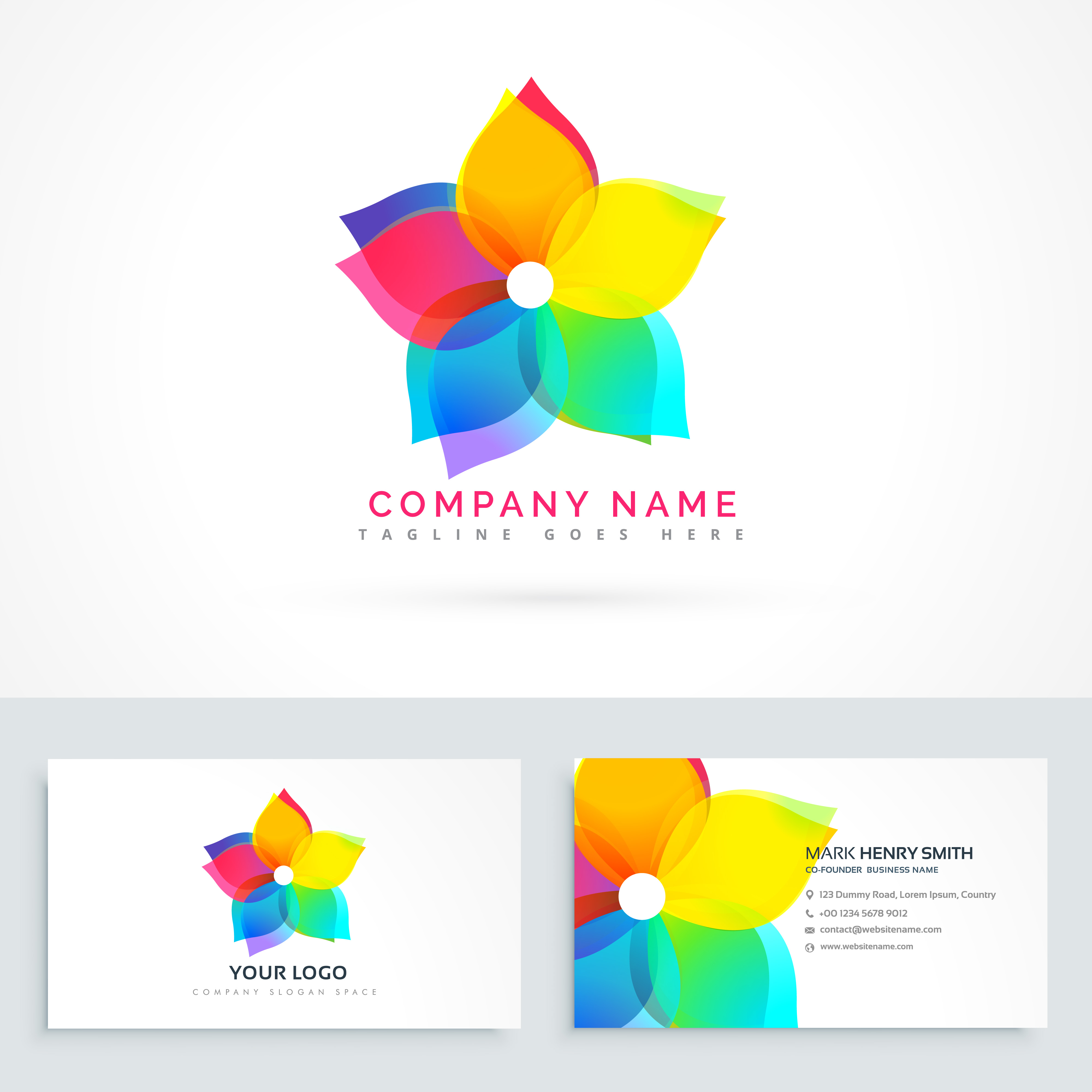 Abstract Flower Logo With Clean Business Card Download Free Vector