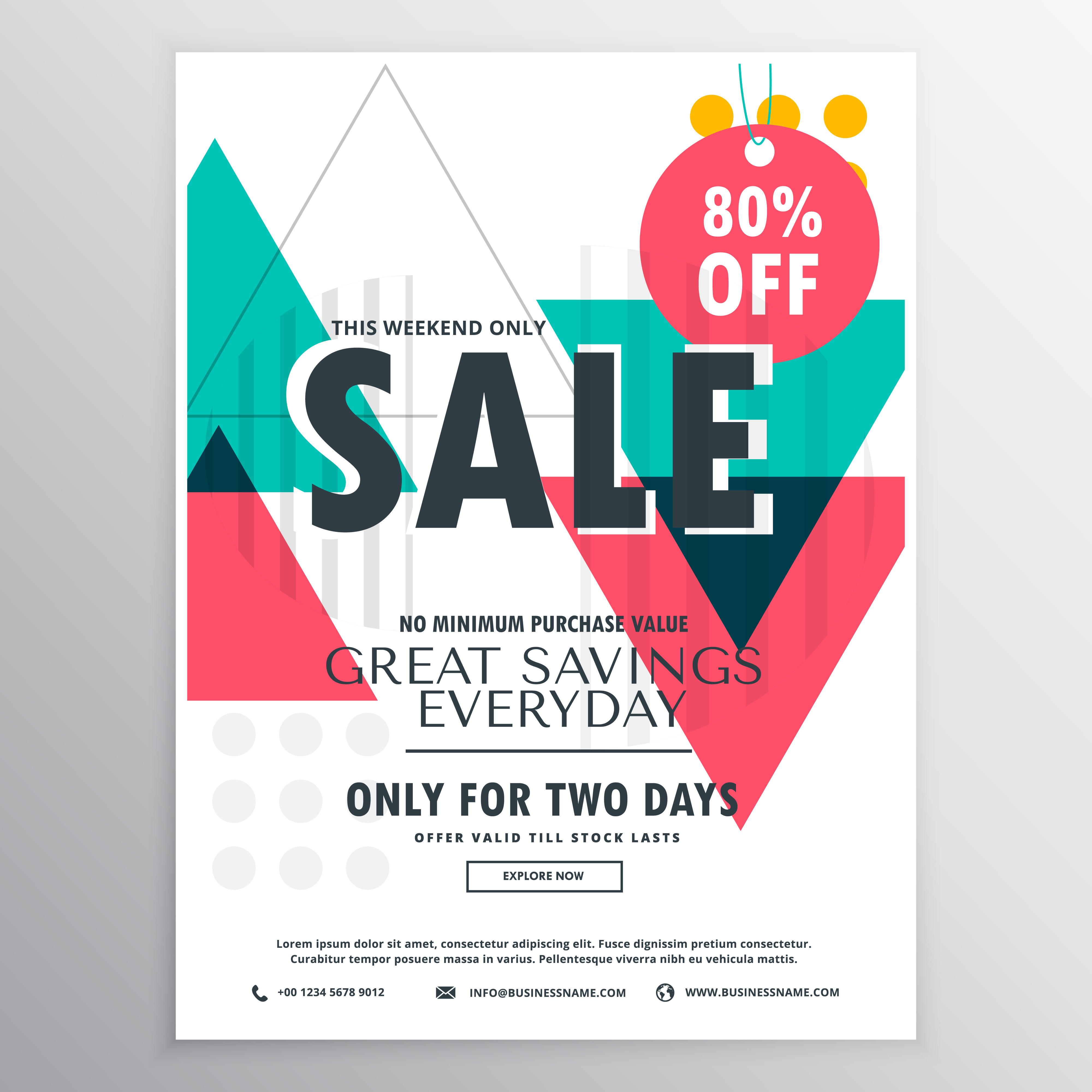 Abstract Promotional Sale Flyer Poster Design With