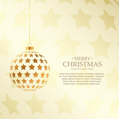 beautiful golden christmas balls design holiday greeting