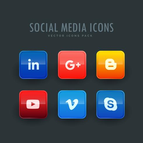 social network icons set of six in a pack