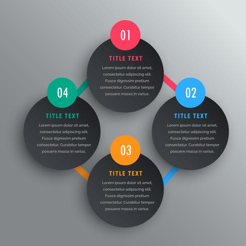 four steps infographic chart design in dark theme.