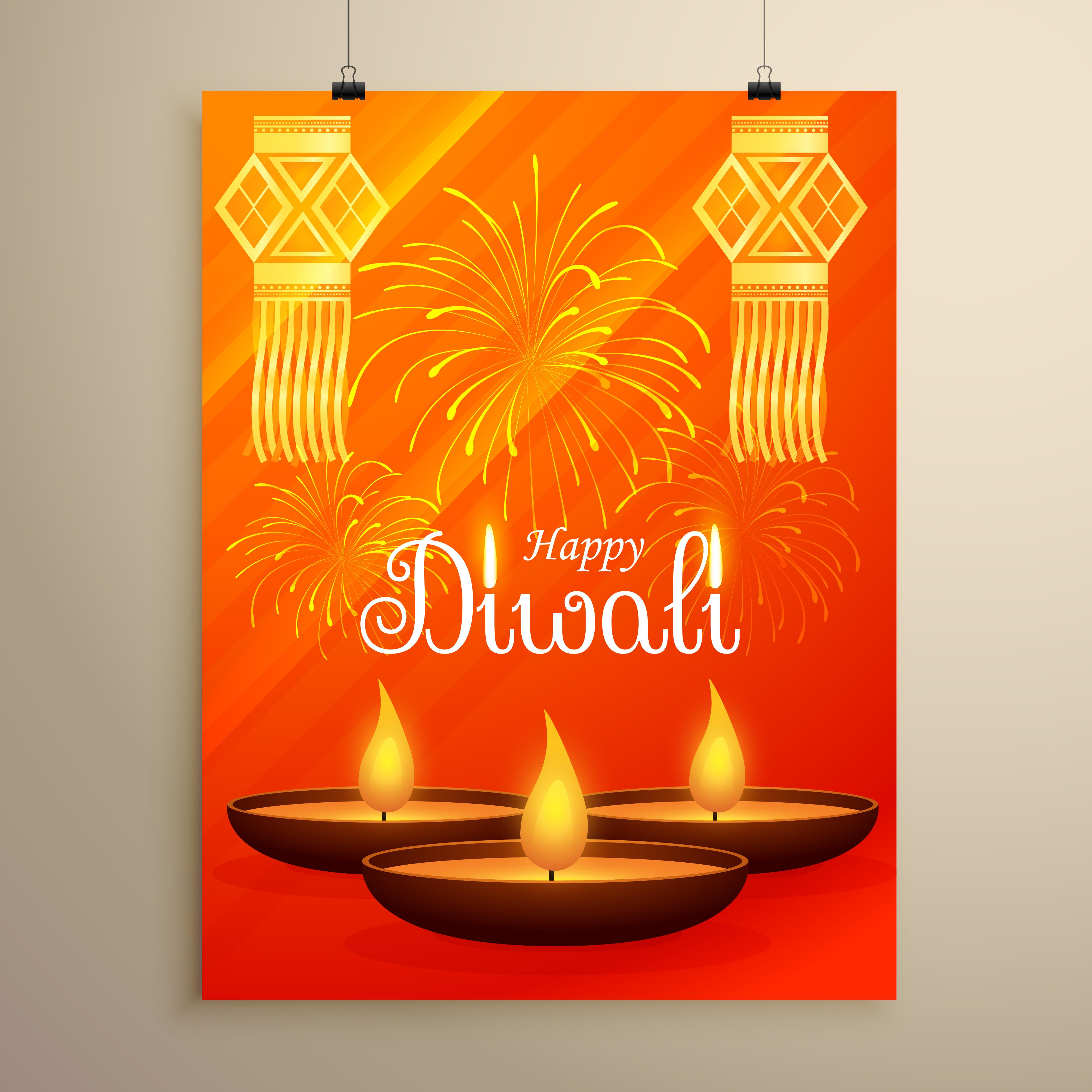Diwali Festival Flyer Design With Diya Fireworks And