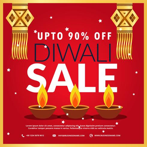 diwali festival sale poster with three diya and hanging lamp in