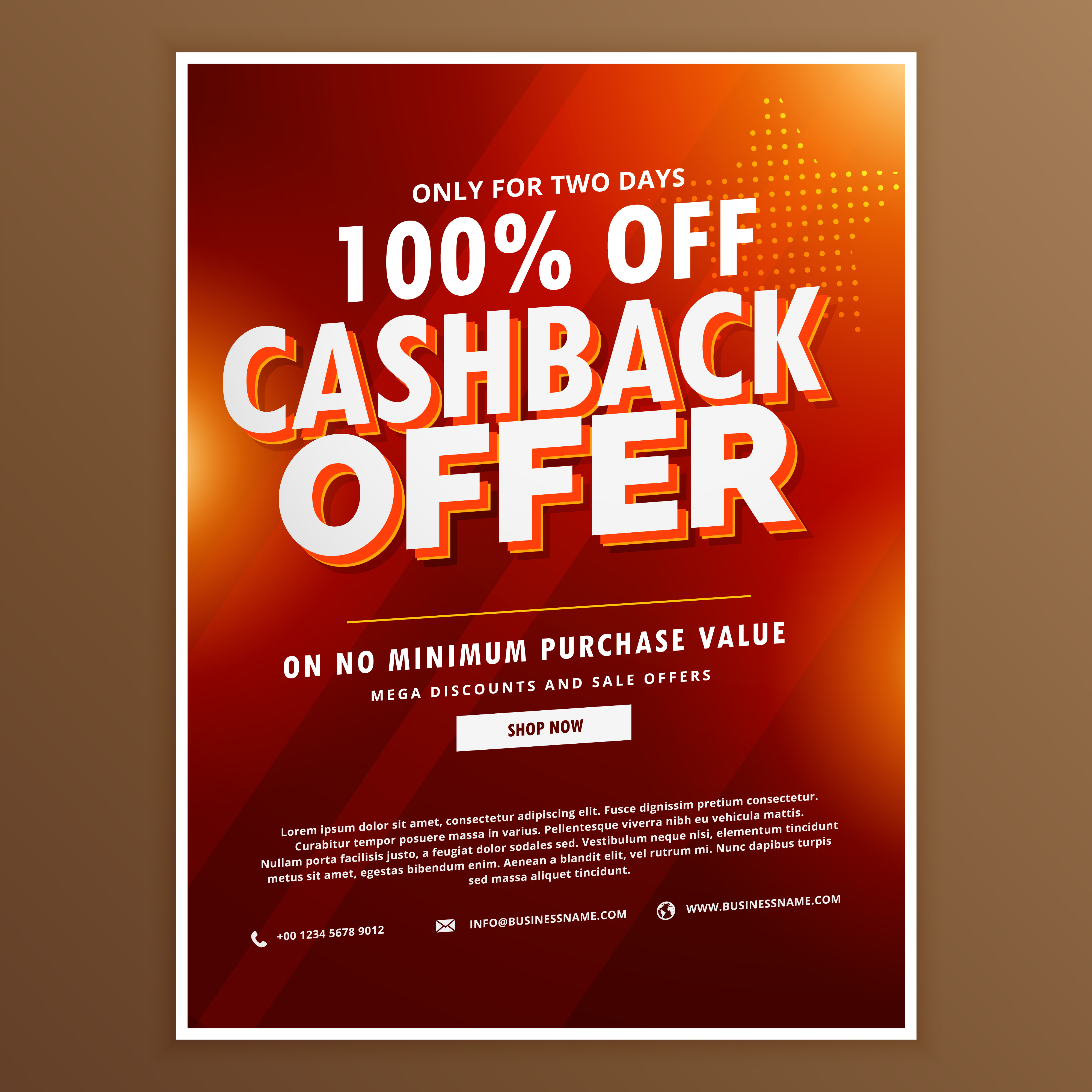 advertising promotional cashback offer design template