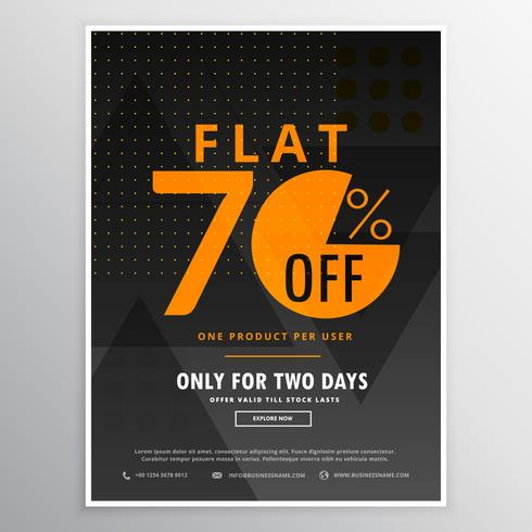 sale flyer promotional banner template design in dark black colo
