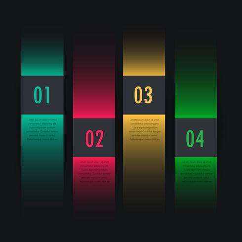 dark colorful infographic four steps
