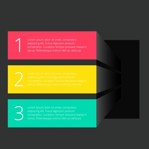 three banners dark template infograph