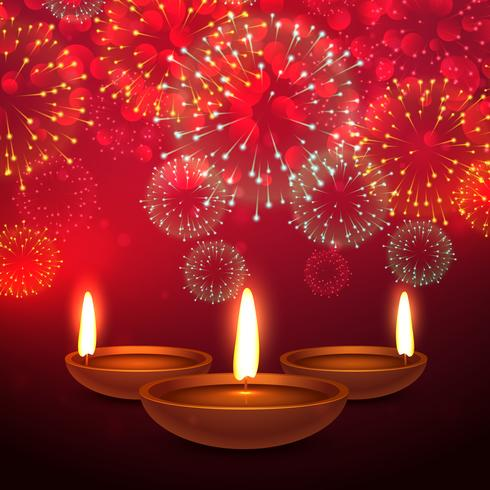 beautiful diwali festival background with fireworks and diya pla