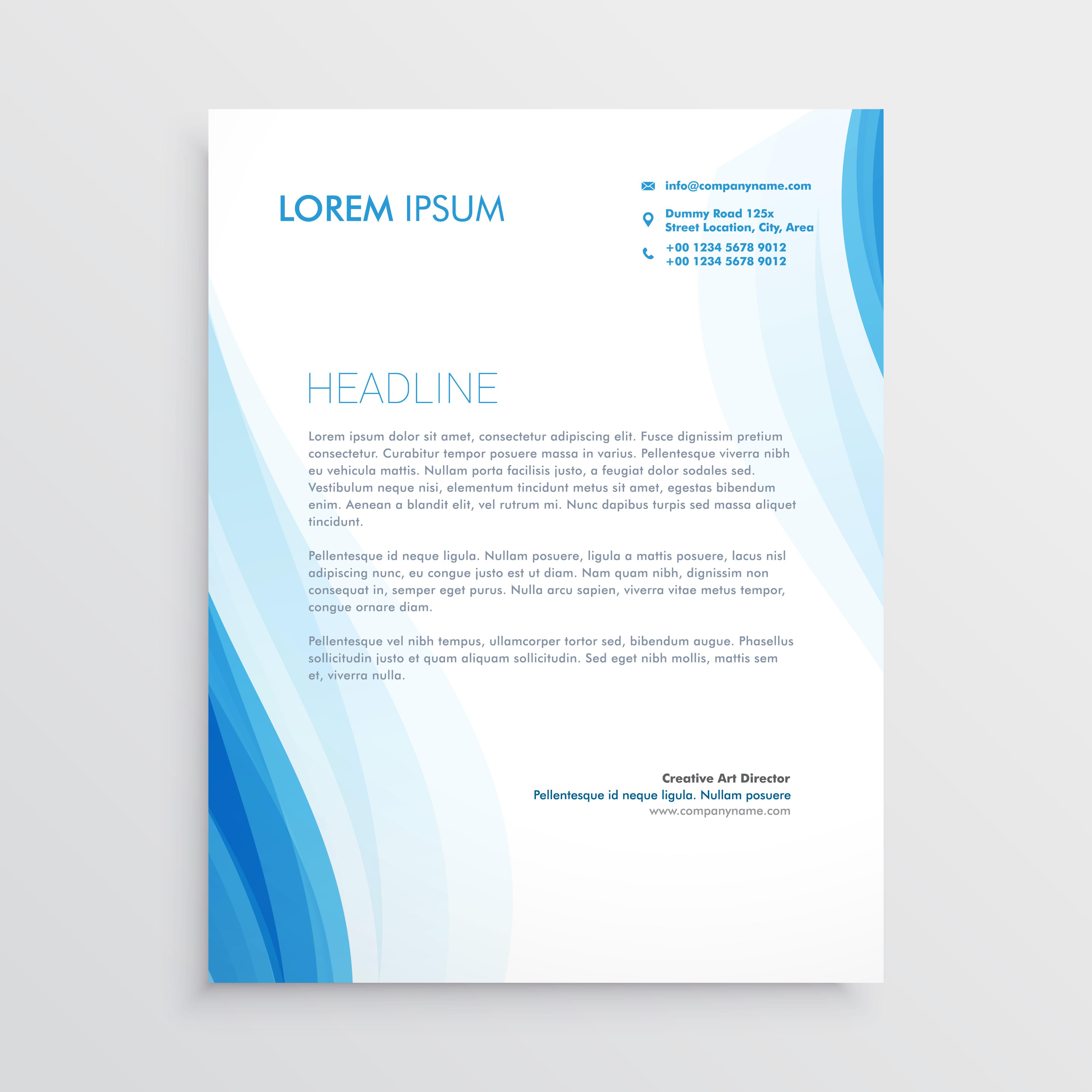 Elegant Blue Letterhead Design Template With Wavy Shape