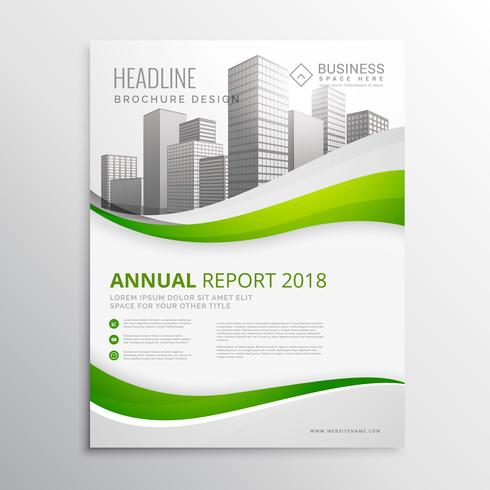 green real estate business brochure template design vector illus
