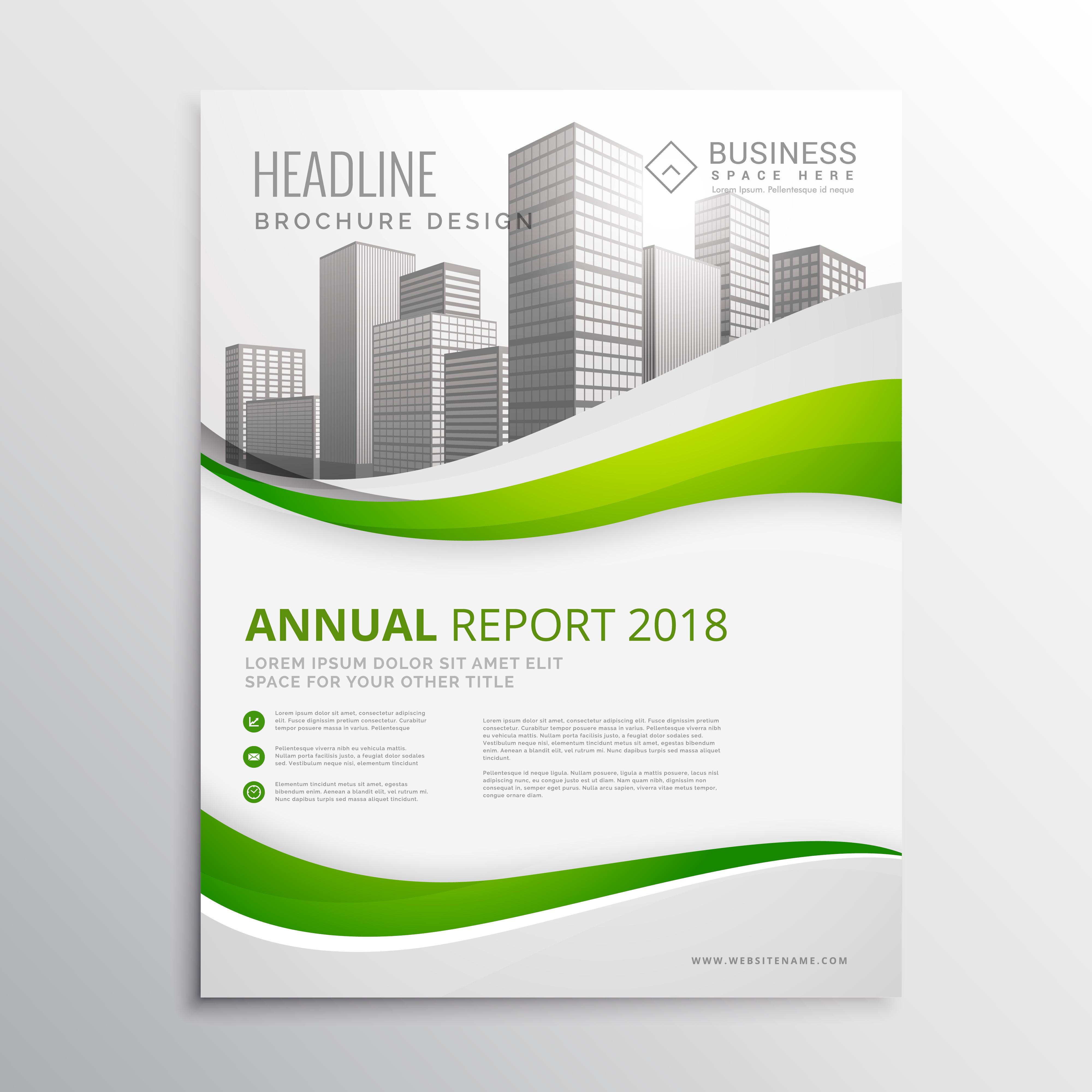 green real estate business brochure template design vector ...