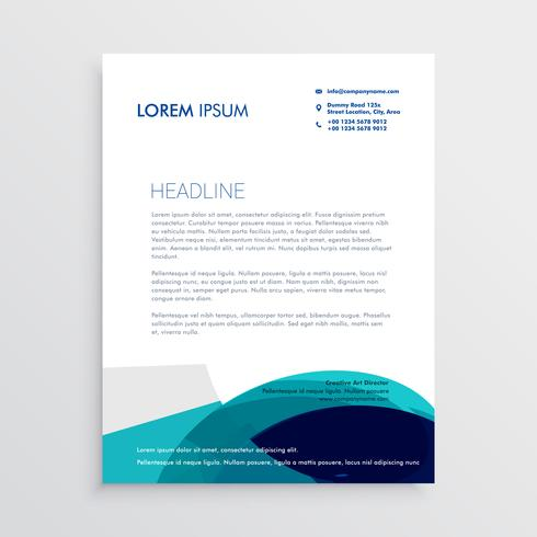 letterhead design with abstract blue shapes
