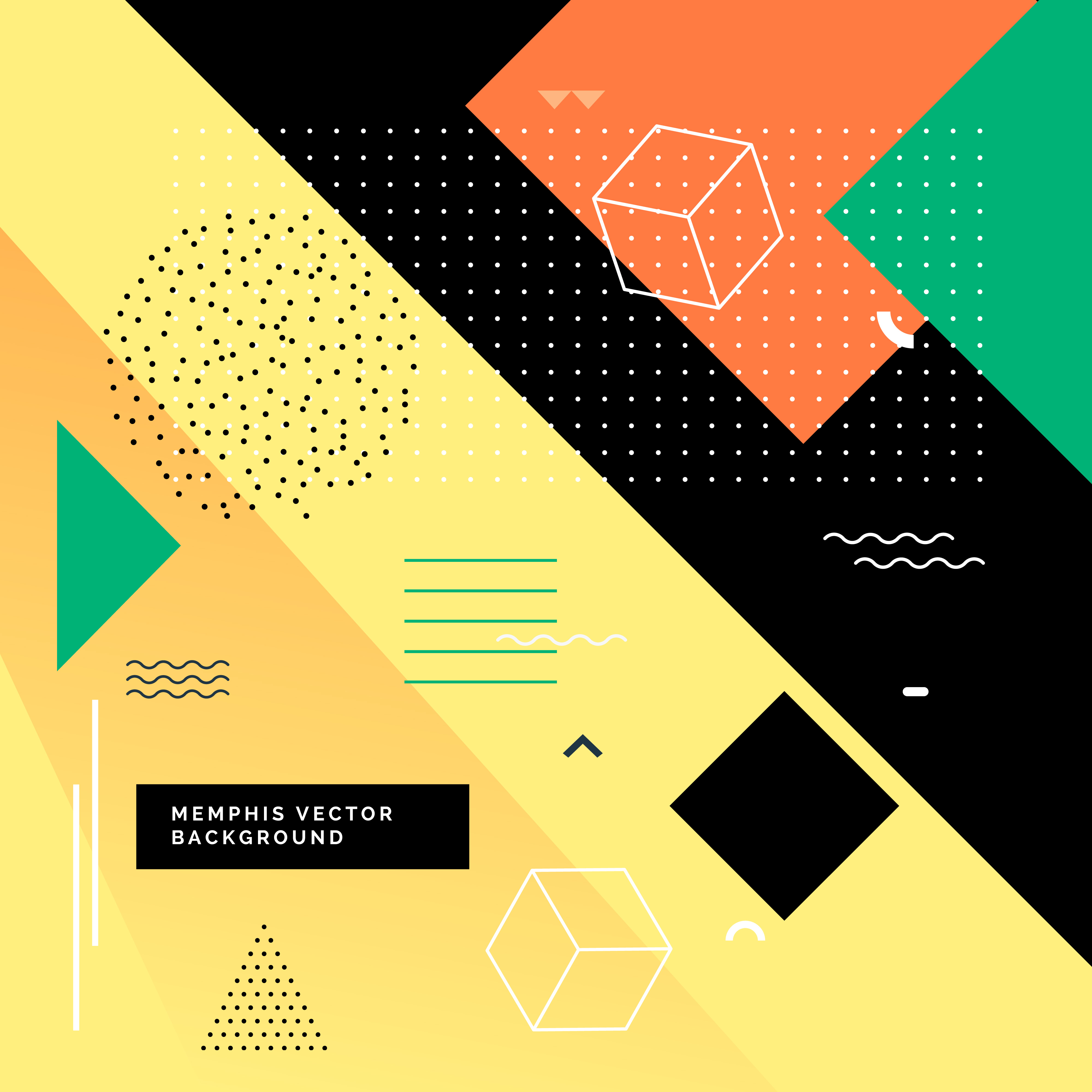 Colorful Memphis Background With Geometric Shapes