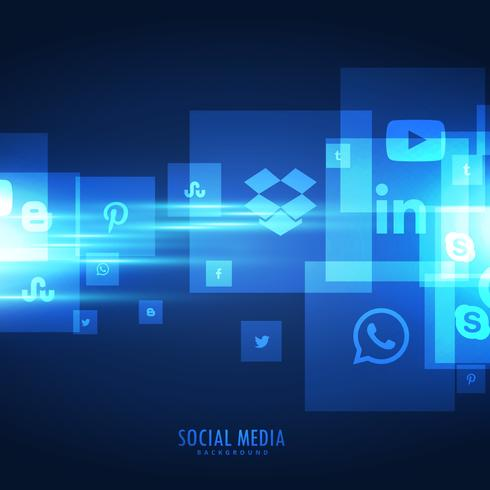 blue social media icons background