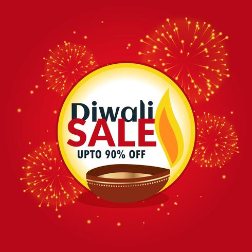 diwali sale and discount banner with fireworks and diya