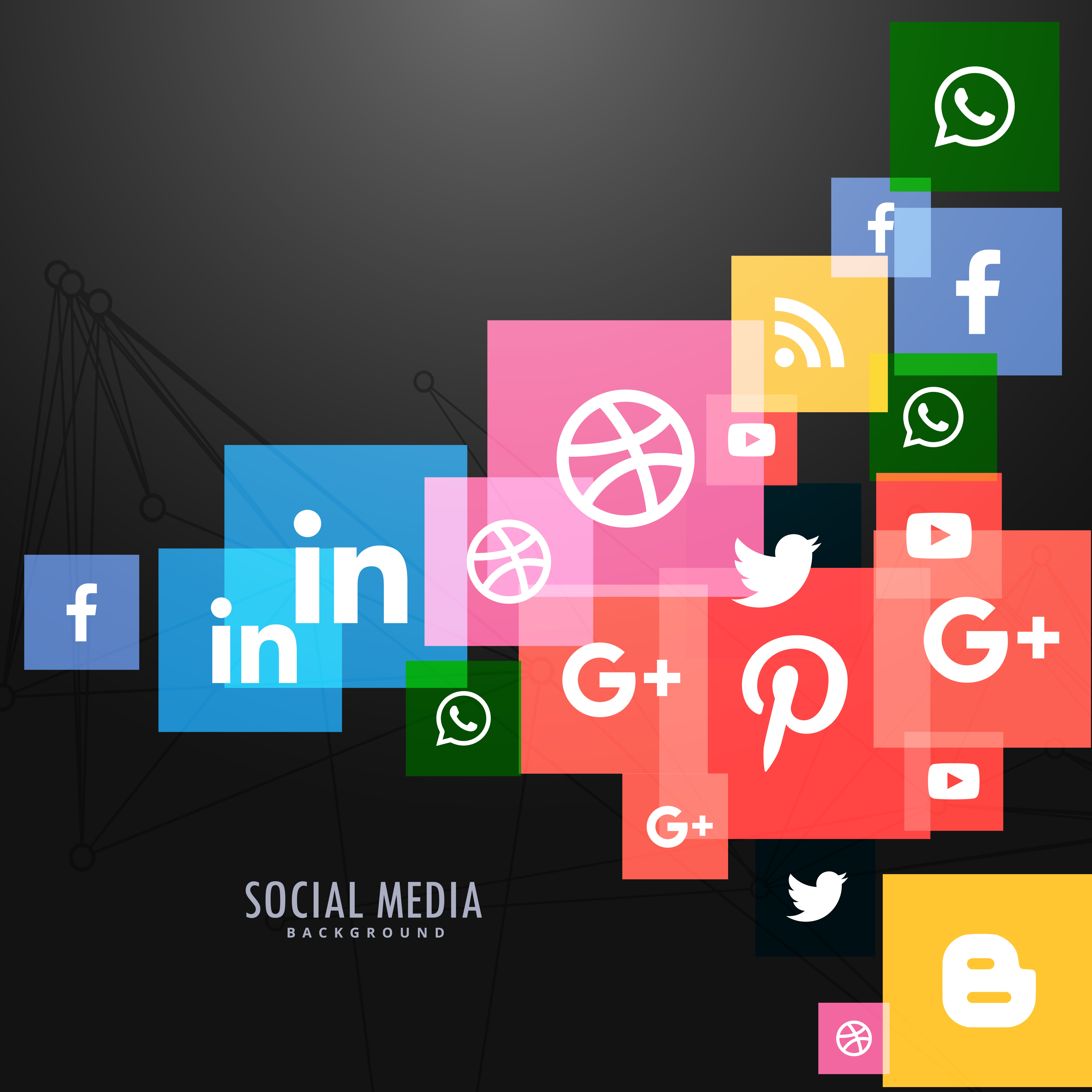 Dark Background With Social Networks Icons Download Free